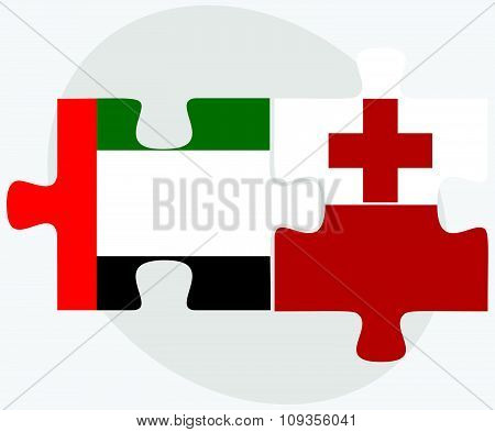 United Arab Emirates And Tonga Flags