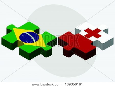 Brazil And Tonga Flags