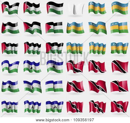 Palestine, Karakalpakstan, Lesothe, Trinidad And Tobago. Set Of 36 Flags Of The Countries Of The