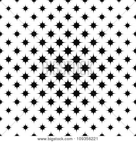 Monochrome repeating curved star pattern