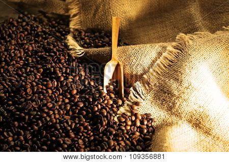 A wooden shovel and aromatic coffee beans scattered on sacking background
