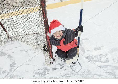 Christmas hockey boy
