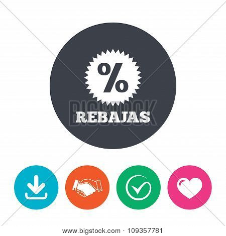 Rebajas - Discounts in Spain sign icon. Star.