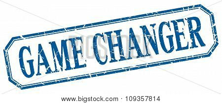Game Changer Square Blue Grunge Vintage Isolated Label