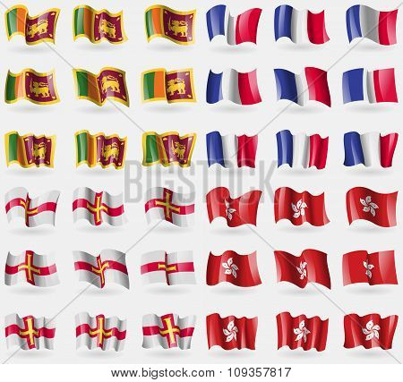 Sri Lanka, France, Guernsey, Hong Kong. Set Of 36 Flags Of The Countries Of The World.