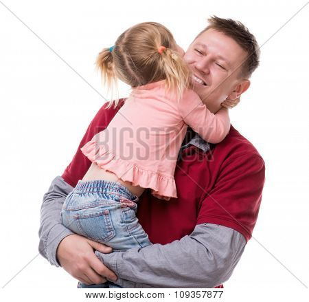 hug of father and his little dayghter in his arms isolated on white background