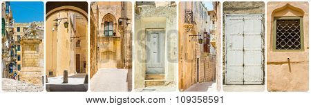 collage of Maltese sights and traditional symbols