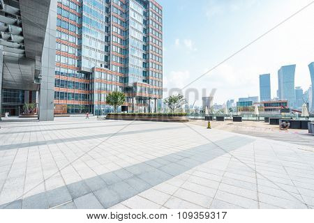 empty ground front of buildings