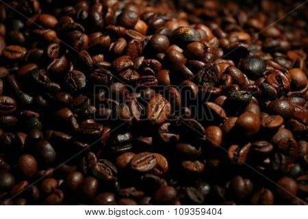 Background of roasted aromatic coffee beans