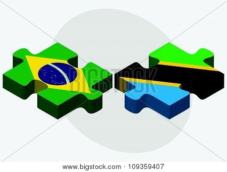 Brazil And Tanzania Flags