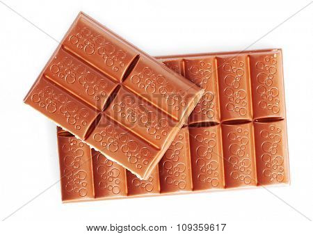 broken chocolate bar, isolated on white