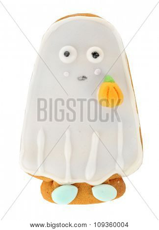 Halloween ghost cookies isolated on white background