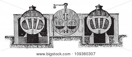 Galloway boiler cross section, vintage engraved illustration. Industrial encyclopedia E.-O. Lami - 1875.