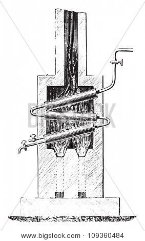 Blakey boiler, vintage engraved illustration. Industrial encyclopedia E.-O. Lami - 1875.