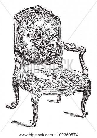 Louis-five chair, vintage engraved illustration. Industrial encyclopedia E.-O. Lami - 1875.