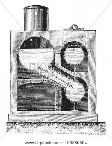 Cylindrical boiler burners Farcot lateral system, vintage engraved illustration. Industrial encyclopedia E.-O. Lami - 1875.