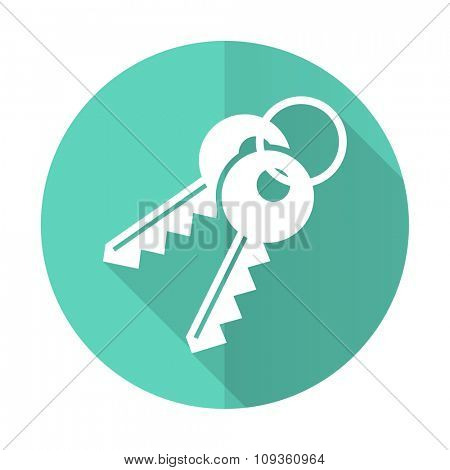 keys blue web flat design circle icon on white background
