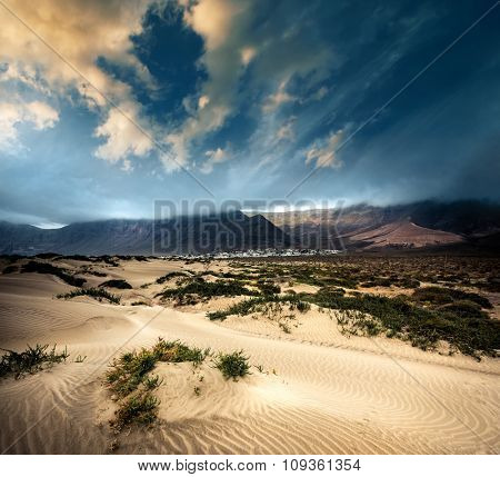 beautiful desert mountain landscape on the island of Lanzarote