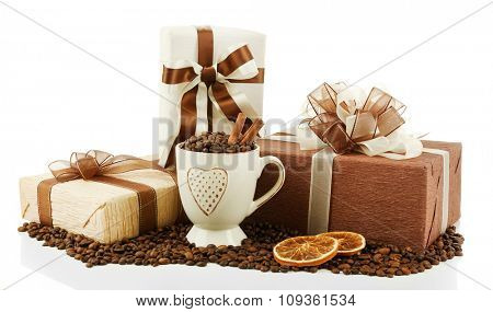 Beautiful gifts with bows and coffee grains isolated on white