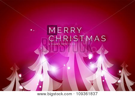 Holiday pink abstract background, winter snowflakes, Christmas and New Year design template, light shiny modern illustration