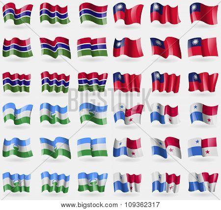Gambia, Taiwan, Kabardinobalkaria, Panama. Set Of 36 Flags Of The Countries Of The World.