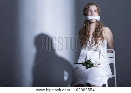 Tied Woman With A Gag