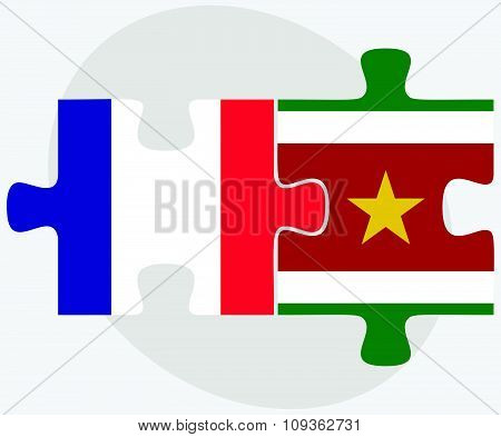 France And Suriname Flags