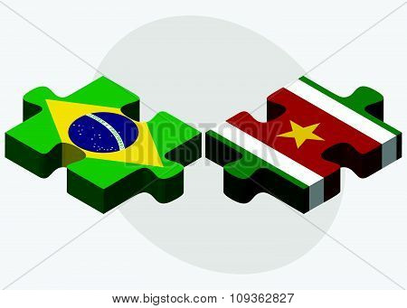 Brazil And Suriname Flags