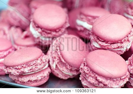 Gentle colorful macaroons, close up
