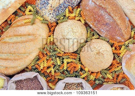 Different types of bread, pasta and cereal, close-up