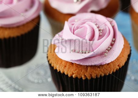 Tasty cupcakes close-up
