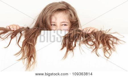 Little Girl Kid With Long Hair Holds Empty Banner.
