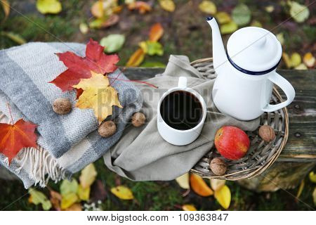 Old wooden bench with teapot,fruits and nuts, outdoor