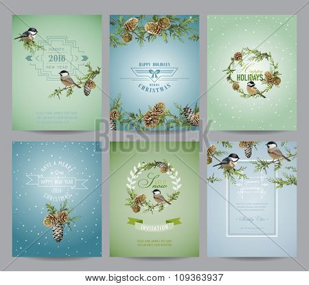 Set of Christmas Brochures and Cards - Winter Bird Layouts - in vector