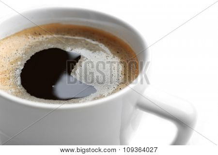 A cup of tasty coffee, isolated on white, close-up