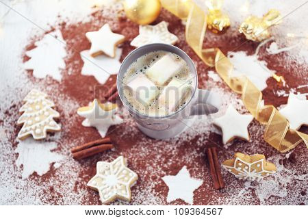 Beautiful composition with cup of cocoa and Christmas cookies
