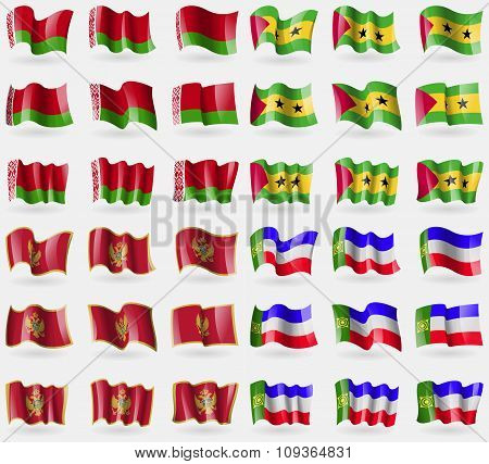 Belarus, Sao Tome And Principe, Montenegro, Khakassia. Set Of 36 Flags Of The Countries Of The