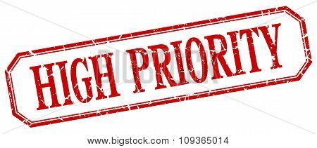 High Priority Square Red Grunge Vintage Isolated Label