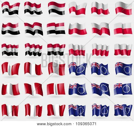 Yemen, Poland, Peru, Cook Islands. Set Of 36 Flags Of The Countries Of The World.