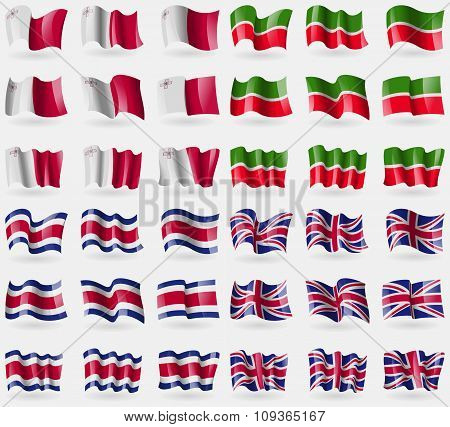 Malta, Tatarstan, Costa Rica, United Kingdom. Set Of 36 Flags Of The Countries Of The World.