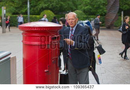 London, Her Majesty Royal Mail. Red post box
