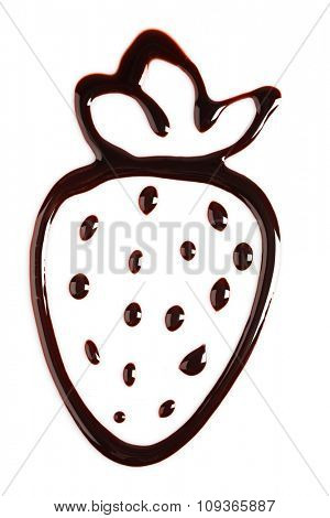 Silhouette of drawn chocolate strawberry, isolated on white