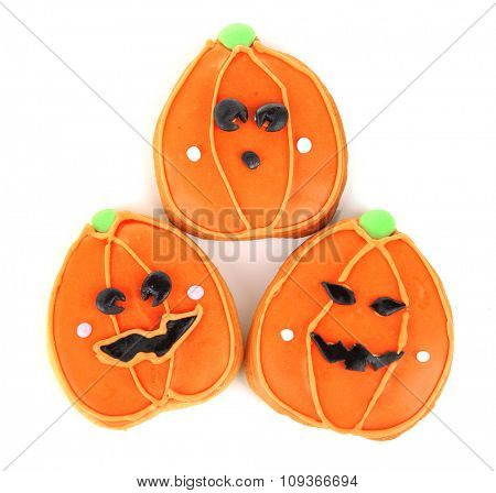 Creative cookies for Halloween party isolated on white background