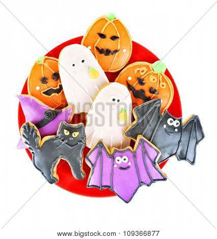 Creative Halloween cookies isolated on white background