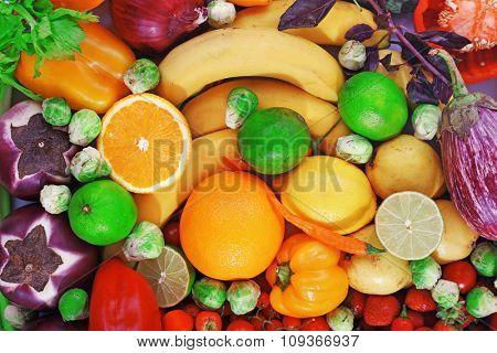 Fresh fruits and vegetables closeup