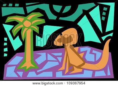 Abstract Dinosaur Scene