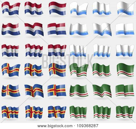 Netherlands, Altai Republic, Aland, Chechen Republic Of Ichkeria. Set Of 36 Flags Of The Countries
