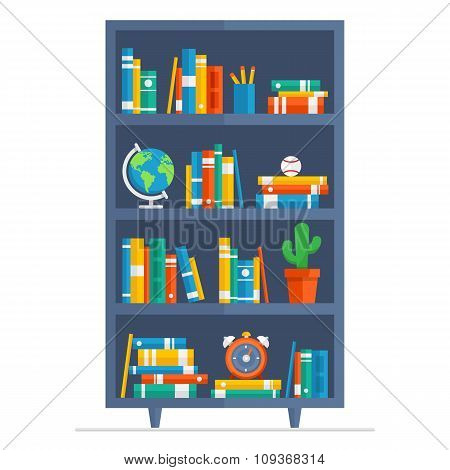 Bookcase Vector flat illustration