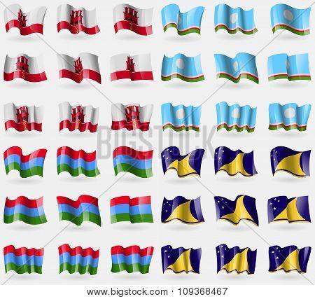 Gibraltar, Sakha Republic, Karelia, Tokelau. Set Of 36 Flags Of The Countries Of The World.