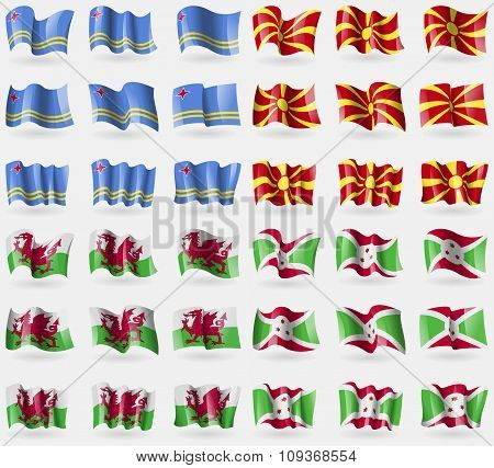 Aruba, Macedonia, Wales, Burundi. Set Of 36 Flags Of The Countries Of The World.